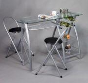 Küchenbar mit 2 Stühlen Glasplatte