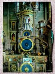 Mechanische Ansichtskarte der astronomischen Uhr