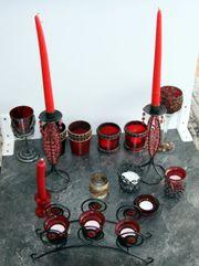 Rotes Kerzenarrangement gothic goth Kerzenhalter