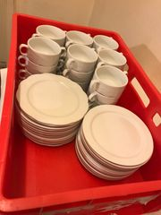 Suppentassen Dessert Teller Porzellan Weiß