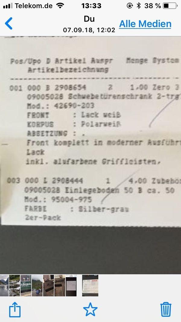 Schiebetürenschrank neu 1200 EURfür 700 EURweiß Schlafzimmer 3m in ...