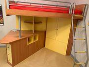 Hochbett mit Schreibtisch Schrank Lattenrost