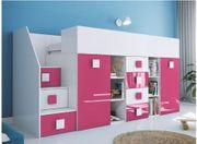 Hochbett Etagenbett mit Schreibtisch Schrank