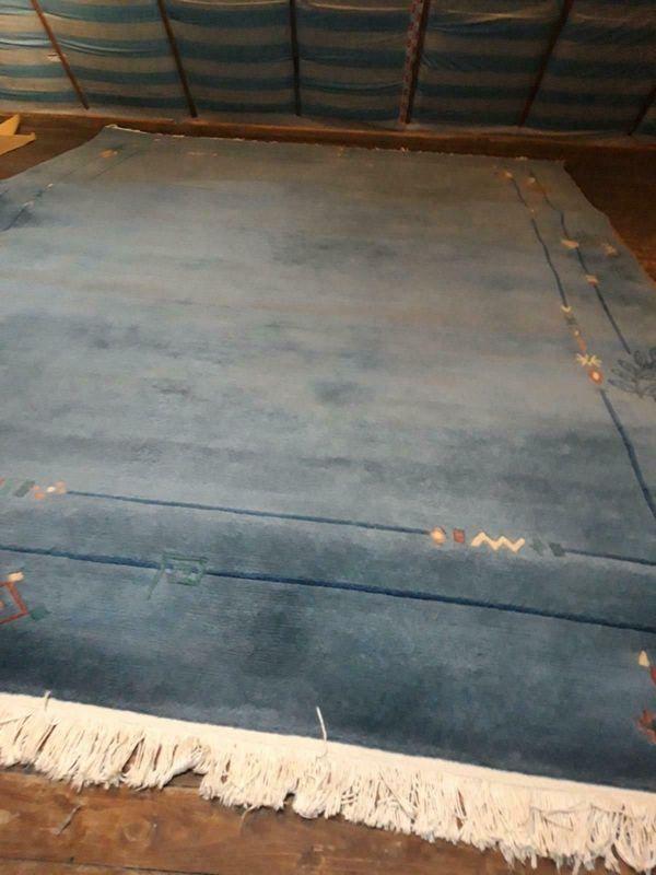 Nepal Teppich blau