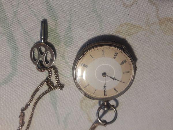 Antike Silber Taschenuhr Remontoir Cylindrel