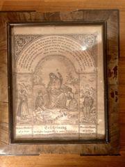 Antikes Heiligenbild in original Holzrahmen