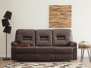 3-Sitzer Sofa Kunstleder braun verstellbar