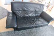 2 Designer-Ledersofas blau 3-Sitzer und