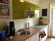Impuls Küchenzeile weiß-olive hochglanz