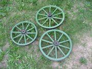 3 uralte Wagenräder Wagen-Rad Antik