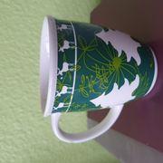Tasse grün-weiss Keramik Weihnachtsmuster wie