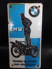 Altes Werbe-Emailschild von BMW