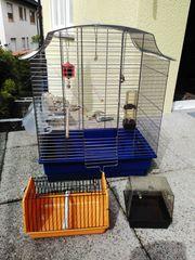 Neuwertiger Vogelkäfig Edelstahl in silberfarben