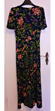 Kleid Abendkleid lang Blumen 70-er