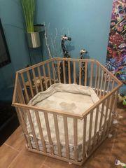 Babybett Laufstall 6 Eck Bio-Holz