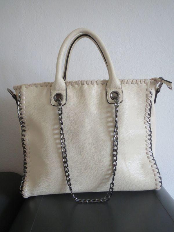 Top Handtasche Shopper Gross Umhange Ketteneinfassung Beige In