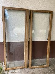 2 antike Holzfenster Eiche Hellbraun