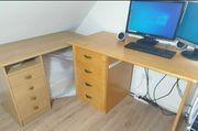 Schreibtisch 2 PC Tisch Bürostuhl