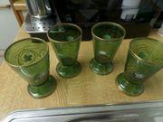 Retro-Trinkgläser grün 4-er Set aus