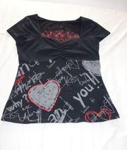 tolles schwarzbuntes Desigual T-Shirt Herzen