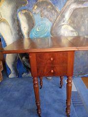 Nähtischchen Tisch Antik Wurzelholzplatte klappbar