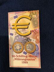 50 Schilling Münze Währungsunion 1999