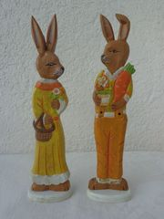 Oster-Deko Hasenpaar aus Holz