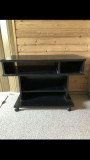 Fernseh-Tisch TV-Board schwarz auf Rollen