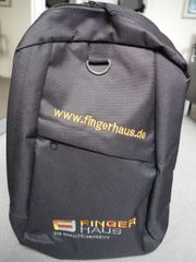 Rucksack schwarz stabil Werbeaufdruck FingerHaus