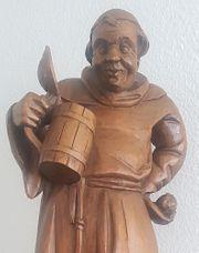antike Holzfigur stehender Mönch mit