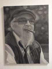 Carlos Läu Portrait Ölbild 80