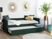 Tagesbett ausziehbar Polsterbezug dunkelgrün Leinenoptik