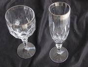 Bleikristall Gläser mit Platinrand 9