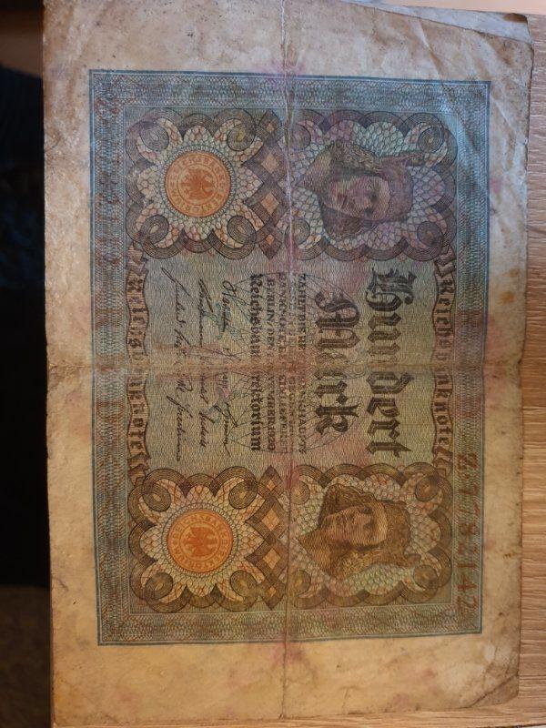 100 Deutsche reichsbanknote 1920 Selten