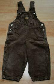 ORIGINAL - Braune Latz-Hose - Größe 74 - Cord-Stoff