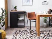Teppich Leder grau braun 140