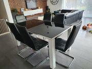 Esszimmer-Set Glastisch mit 6 Lederstühlen
