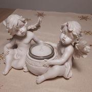 Teelicht mit Engel Deko weiß