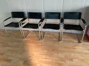 Stühle Stuhl Freischwingerstuhl mit Lederbezug