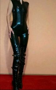 Latex Catsuit Overall kurzarm Gr
