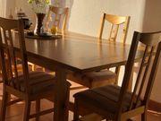 Großer Familien-Esstisch 6 Stühle Sitzbank