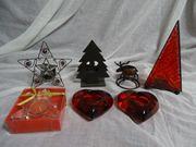 Weihnachten 7 Teelichter Sterne Herzen