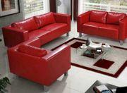 Couchgarnitur Kunstleder Rot