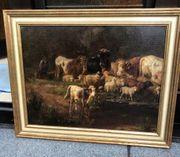 Ölgemälde mit Kühen und Schafen