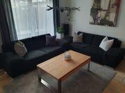 2x -Sitzer-Couch Stoff Schwarz nero