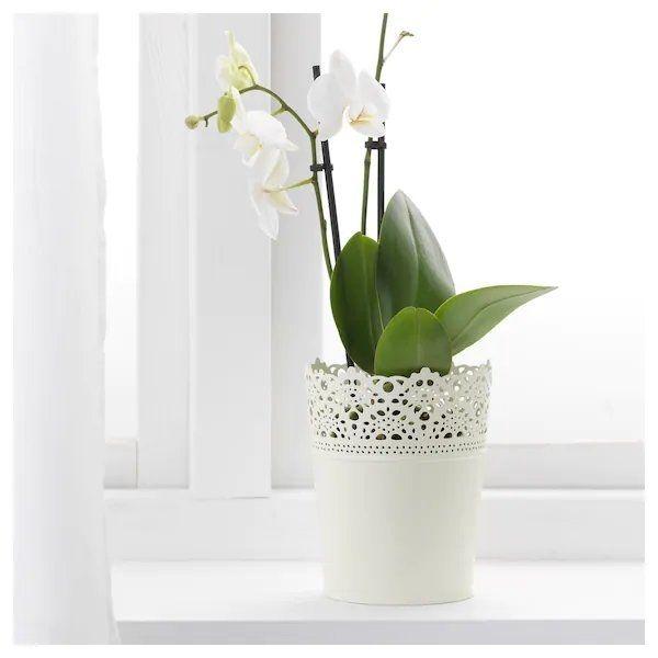 6 verschiedene Blumentöpfe Metall weiß