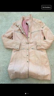Echt-Leder-Mantel rosa