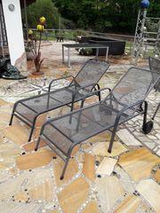 2x Gartenliege Streckmetal grau