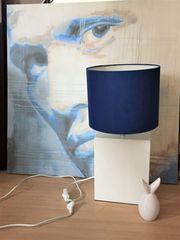 Lampe Tischlampe in blau weiss