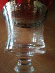 22 Gläser mit Silberrand od